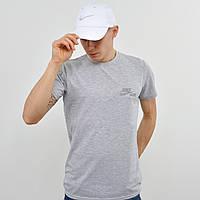 Мужская футболка с светоотражайкой Nike (реплика) светло серый меланж