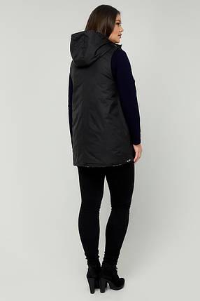 Модний двосторонній жіночий жилет з плащової тканини на синтепоні колір Лайм-Чорний розмір 48-68, фото 2