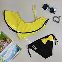 Стильный яркий купальник для девочки c бантиком 28-36р