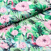 ✁Відрізи Бавовняної тканини Фламінго, рожеві квіти