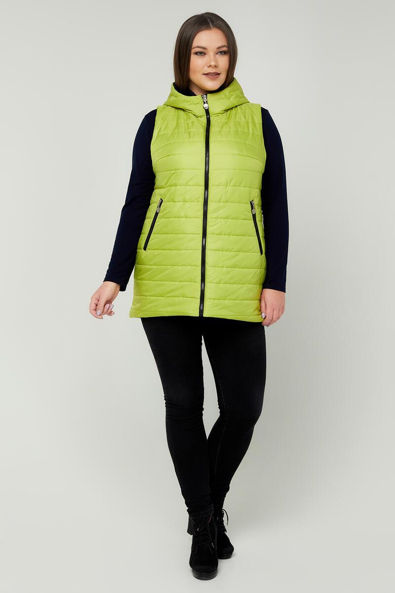 Модний двосторонній жіночий жилет з плащової тканини на синтепоні колір Лайм-Чорний розмір 48-68