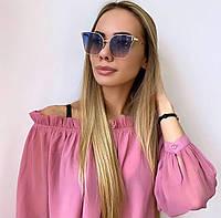 Жіночі сині сонцезахисні окуляри в золотій оправі, фото 1