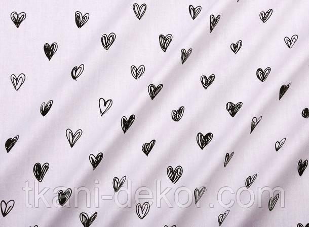 Сатин (бавовняна тканина) сердечка намальовані чорні
