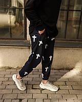 Мужские трикотажные спортивные штаны с принтом черные