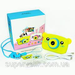 Цифровой детский фотоаппарат X500 Мишка, Детский противоударный фотоаппарат с чехлом Мишка, медведь