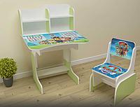 Детская парта-стол растишка со стульчиком от 3-х лет Щенячий патруль 027 салатовая