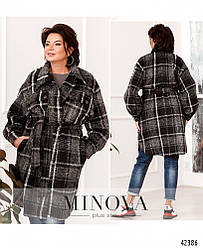 Кардиган-пальто женский в клетку, кашемир, батал №912 | 48-50, 52-54, 56-58 размеры