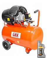 Компресор LEX LXC 100 L (два циліндри) 430л/хв Польща+масло в подарунок.