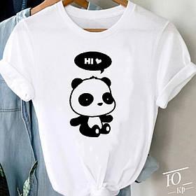 Футболка женская оверсайз белая принт панда