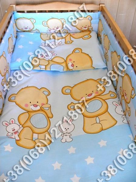 Детское постельное белье и бортики защита в кроватку Мишка голубой