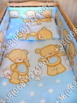 Детское постельное белье и бортики защита в кроватку Мишка голубой, фото 2