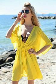 Туника пляжная короткая Желтая