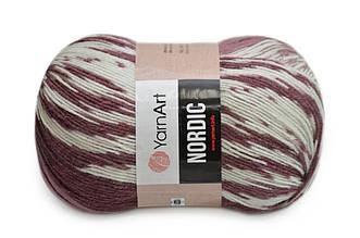 YarnArt Nordic, №665 белый-вишня-сухая роза