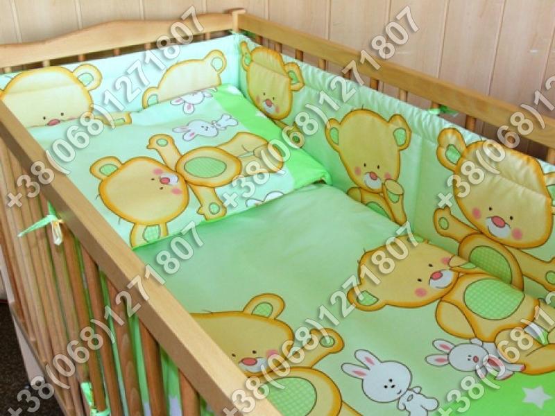 Детское постельное белье и защита (бортик) в детскую кроватку (мишка салатовый)