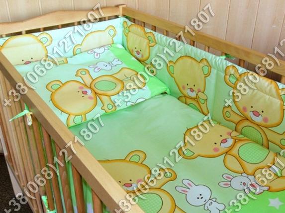 Детское постельное белье и защита (бортик) в детскую кроватку (мишка салатовый), фото 2
