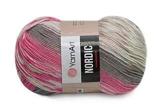 YarnArt Nordic, №655 бело-серо-розовый