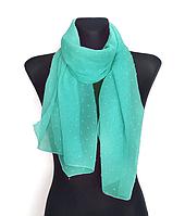 Шифоновый шарф Лейла однотонный 160*50 см бирюзовый