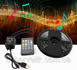 Светодиодная лента 5V USB LED 5050 RGB комплект 5 метров, разноцветная (с микрофоном) для авто или дома
