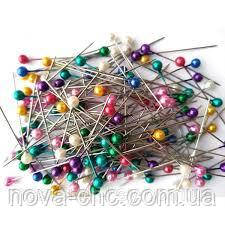 Швейные булавки с цветными шариками  упаковка 1000 штук