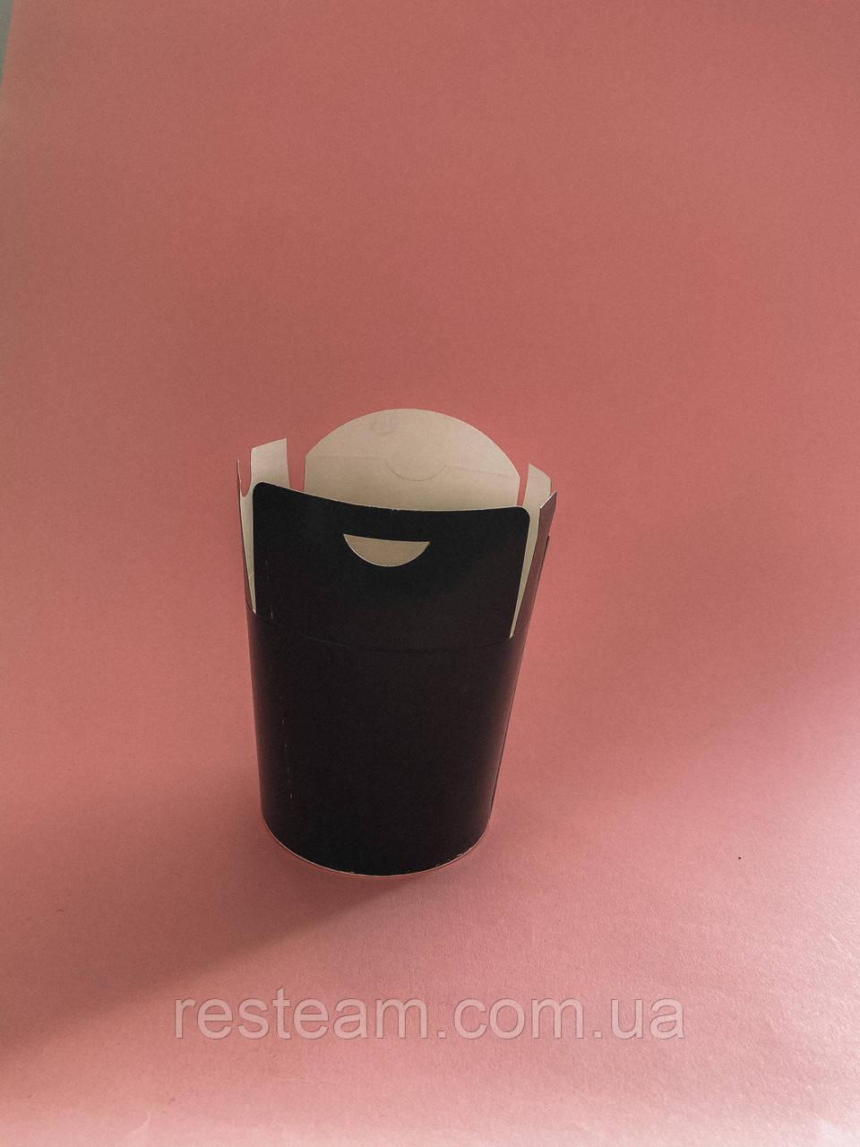 Коробка бумажная (лапша) ФЛТ 500мл черная 50/уп 500/ящ