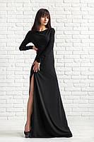 Вечернее черное платье с разрезом