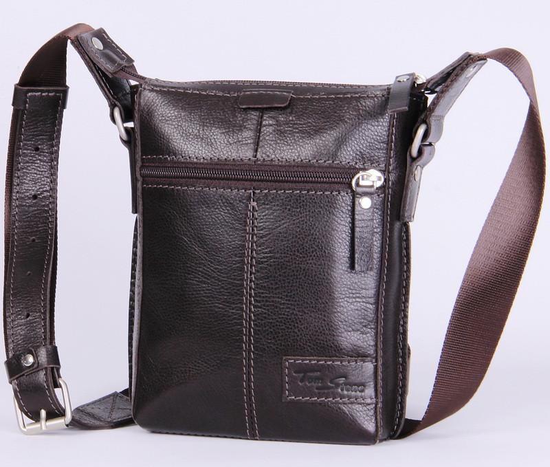 1d75396ced17 Мужская кожаная сумка через плечо Tom Stone 502BR коричневый ...
