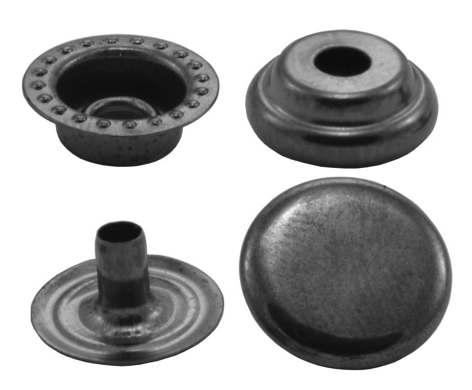 Кнопки металлические №15мм-201, цв. тёмн. никель (1000 шт / уп.)