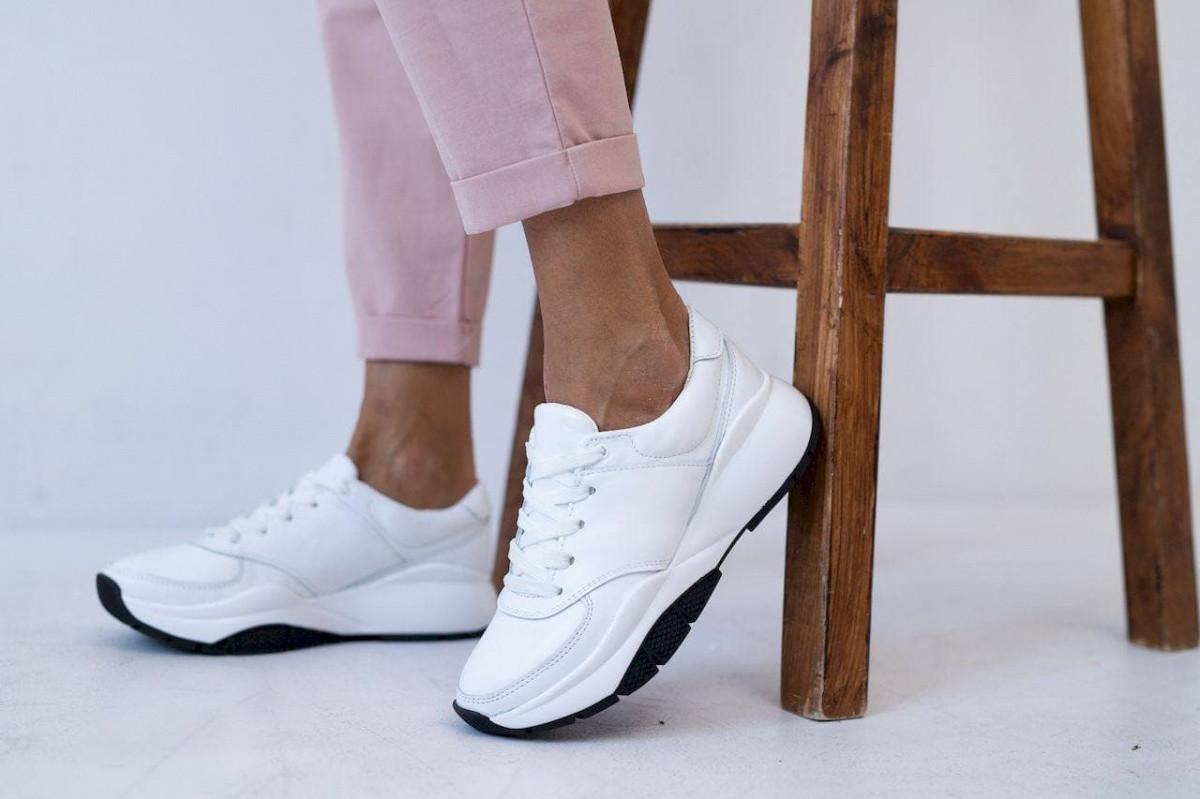 Женские кроссовки кожаные весна/осень белые Gepard 974