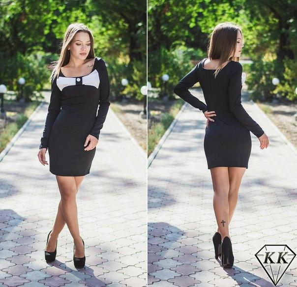 2ffb0ca0385 Красивое стильное черное платье с бантом на груди. Арт-3274 23