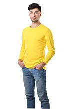 Мужской однотонный реглан простого кроя по фигуре с длинным рукавом, желтый