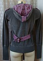 Кофта женская спортивная бархатистая капюшон бренд Copone р.42 4497, фото 1