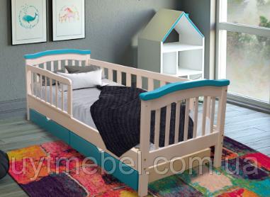 Ліжко Індиго 2 900х2100 дитяче+шух. білий+блакитний (Диванофф)