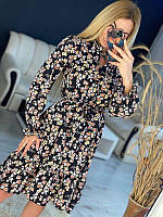 Жіноче плаття в квіточку Чорне, фото 1