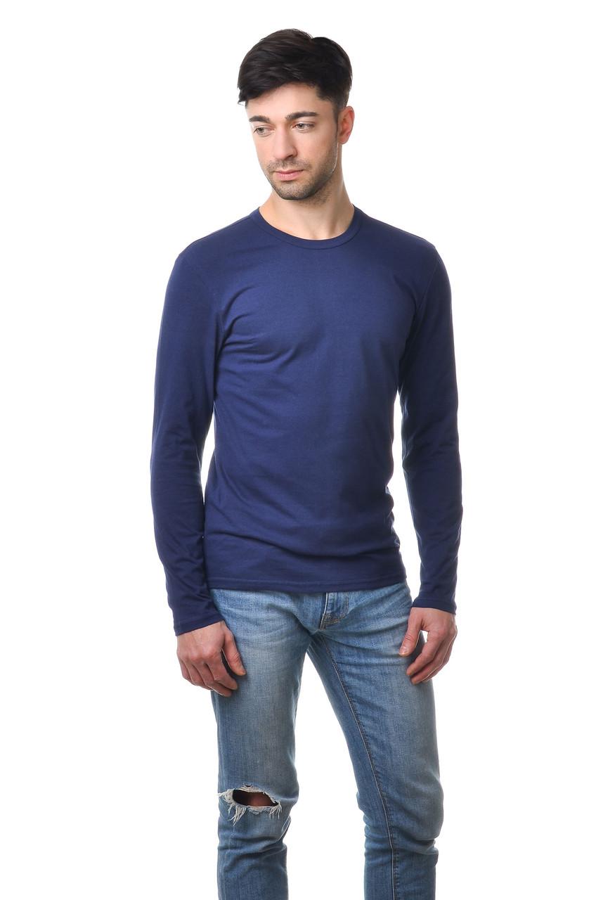 Чоловічий однотонний реглан простого крою по фігурі з довгим рукавом, темно-синій