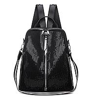 Ранец женский черный потайной карман непромокаемый сумка рюкзак легкий городской стильный