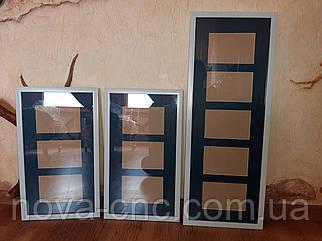 Рамка для фото біла з синім паспарту комплект