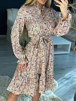 Жіноче плаття в квіточку Бежеве, фото 1
