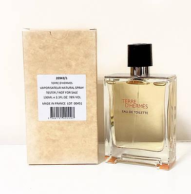 Чоловічі духи туалетна вода Hermes Terre dHermes 100мл ТЕСТЕР, шлейфовый деревне цитрусовий аромат ОРИГІНАЛ