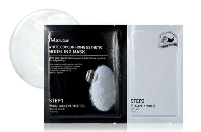 Альгінатна маска з екстрактом перлів і білого шовкопряда JM solution Silky Cocoon Home Esthetic Modeling