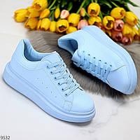 Эффектные молодежные яркие голубые кроссовки кеды крипперы 36-23 38-24,3 41-26см