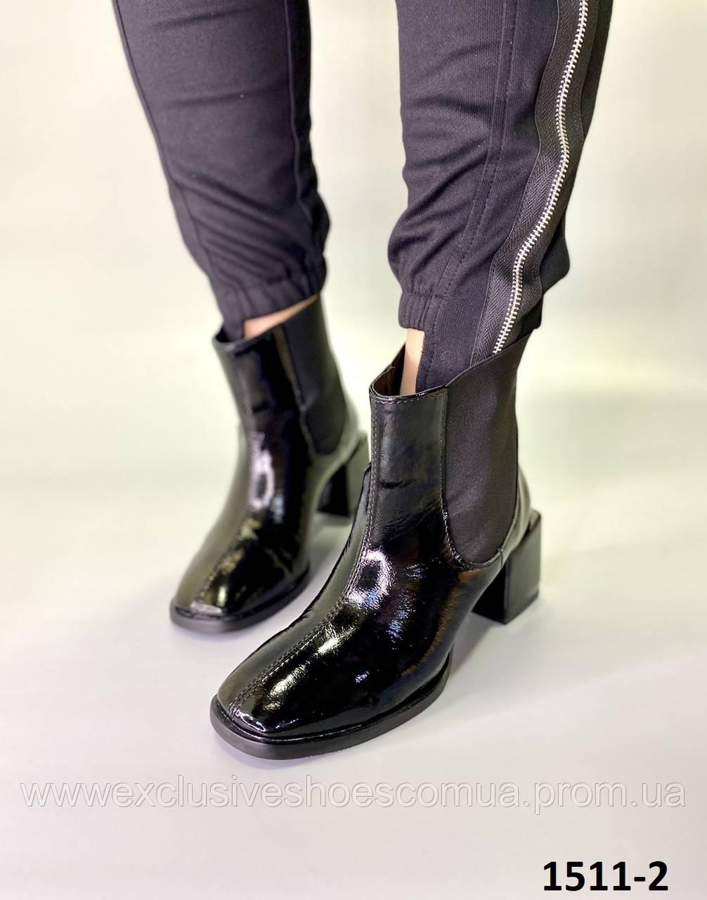 Ботильоны женские кожаные черный наплак на каблуке
