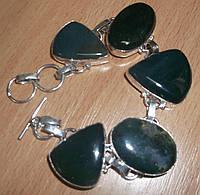 Серебряной браслет с моховым агатом, фото 1
