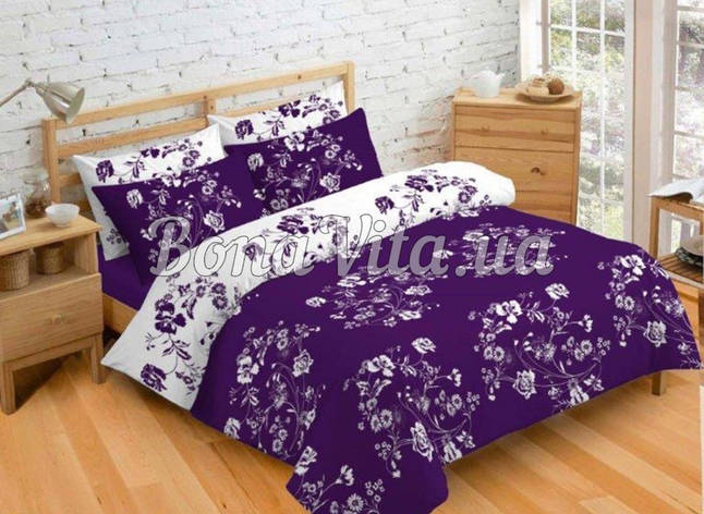 Постельное белье бязь голд люкс семейный бело-фиолетовый с цветочным принтом., фото 2