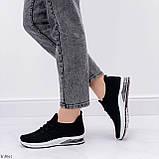 Кросівки жіночі чорні текстиль весна-літо-осінь, фото 6