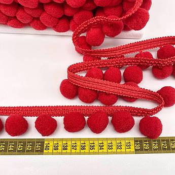 Тесьма с помпонами 20 мм красные
