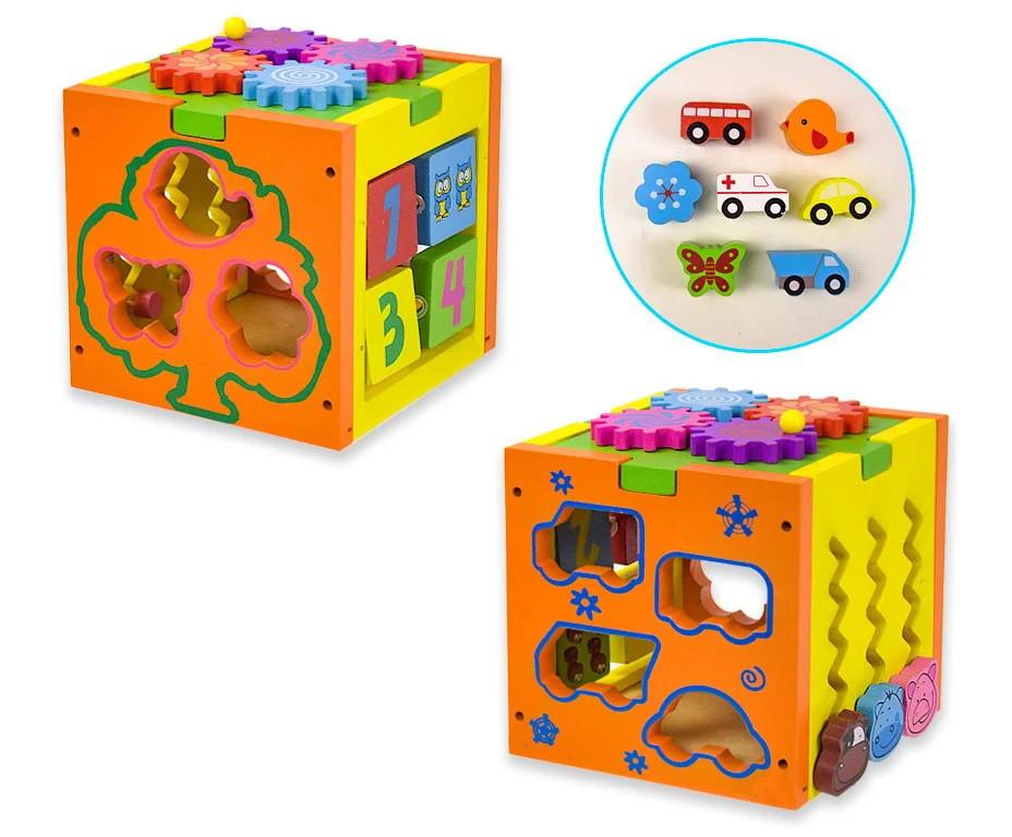 Розвиваюча іграшка Куб-логіка WD607 сортер, шестерінки, лабіринт