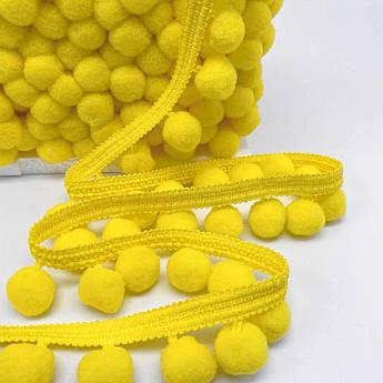 Тесьма с помпонами 20 мм жёлтые