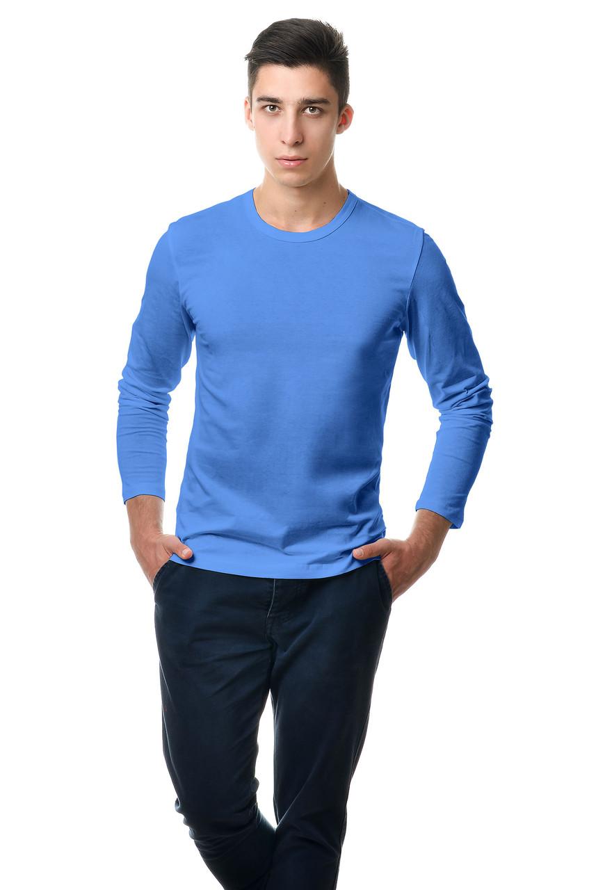 Чоловічий синій однотонний класичний реглан простого крою по фігурі з довгим рукавом