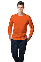 Мужской однотонный оранжевый реглан простого кроя по фигуре с длинным рукавом
