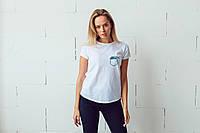 Женская белая футболка, карман с волной